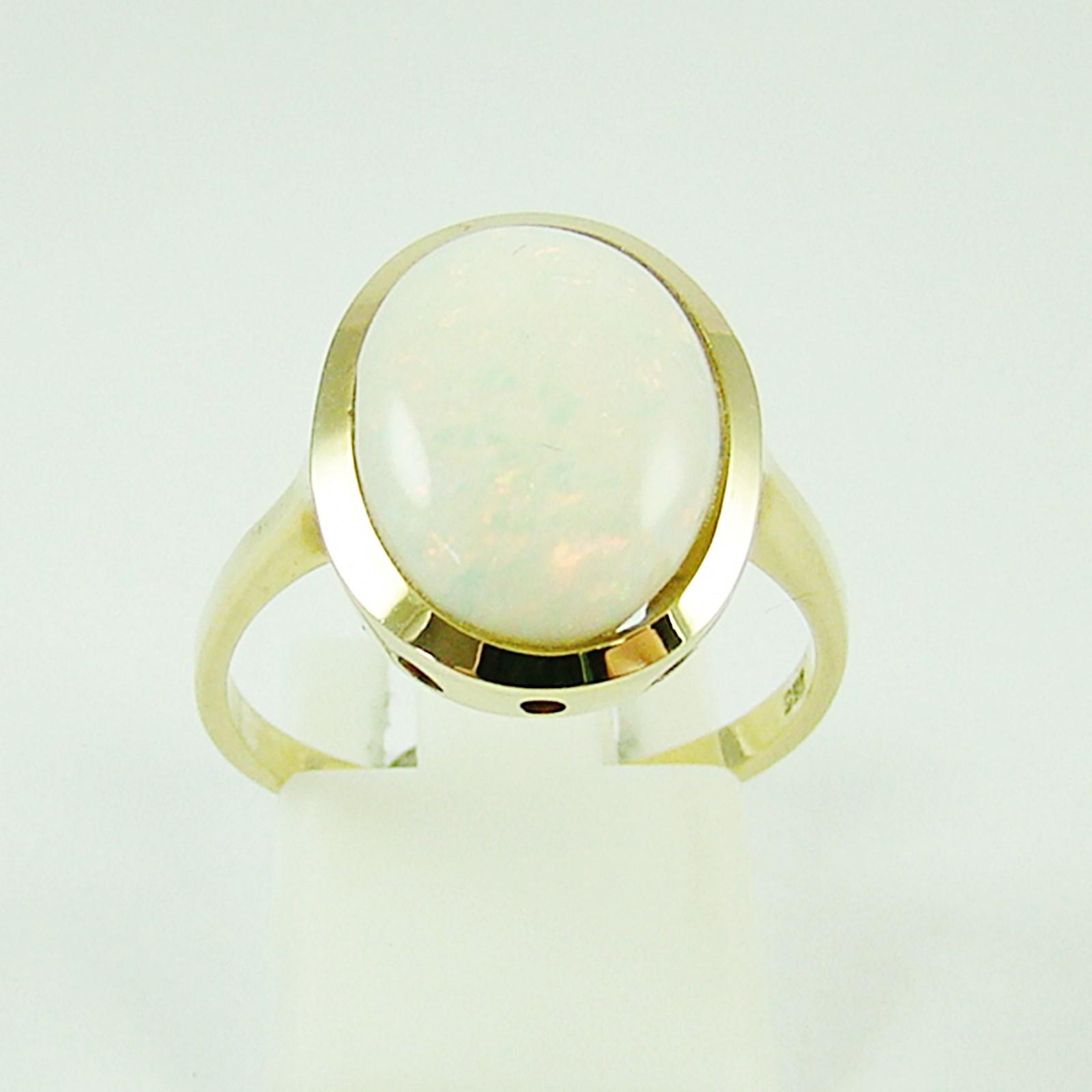 ring gold 585 wei er opal goldringe 14 kt ebay. Black Bedroom Furniture Sets. Home Design Ideas